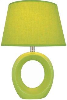 Table Lamp, Green Ceramic Body, Fabric Shade, E27 Cfl 13w