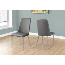 "DINING CHAIR - 2PCS / 37""H / GREY LEATHER-LOOK / CHROME"