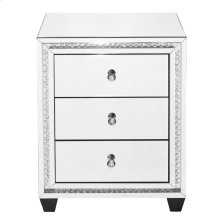 22 inch Crystal three drawers Bedside Table in Clear Mirror Finish