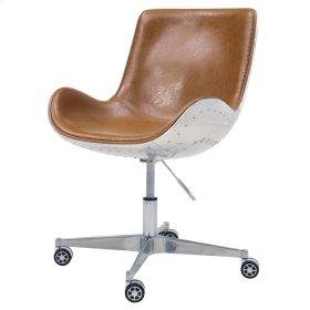 Abner PU Swivel Office Chair Aluminum Frame, Distresed Caramel