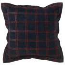 Oversized Washed Blue & Red Plaid Pillow. Product Image