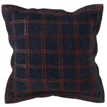 Oversized Washed Blue & Red Plaid Pillow.