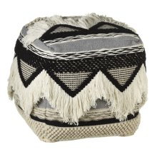 Hand Woven Black & White Triangle Pouf with Fringe (Each One Will Vary)