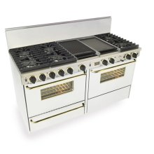 "60"" Dual Fuel, Convect, Self Clean, Sealed Burners, White with Brass"