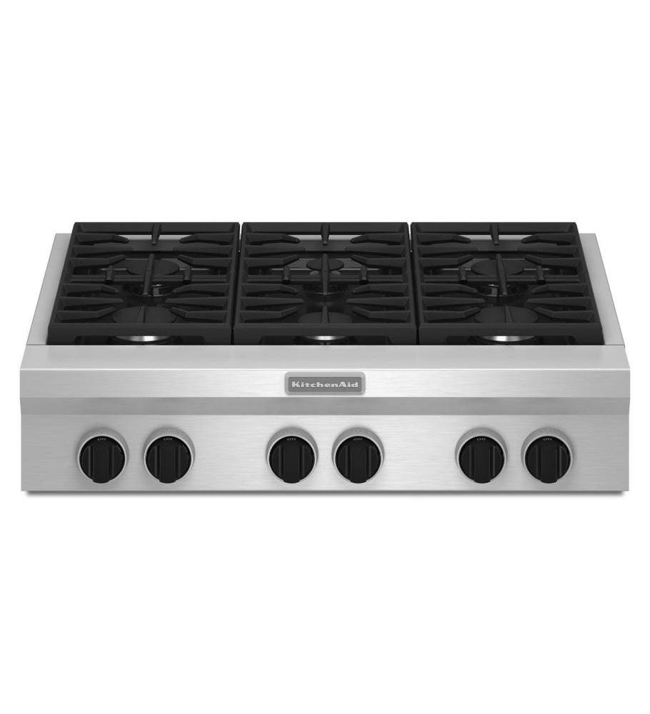 KitchenAid® 36-Inch 6-Burner Gas Rangetop, Commercial-Style - Stainless Steel