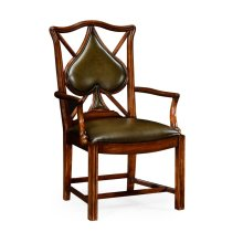 """Playing Card """"Spade"""" Armchair with Medium English Library Green Leather"""