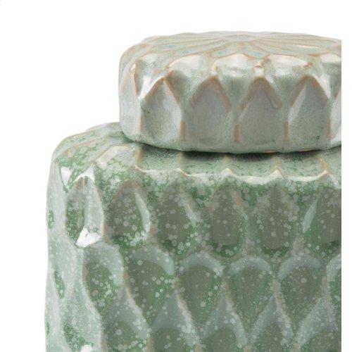 Lattice Sm Covered Jar Green