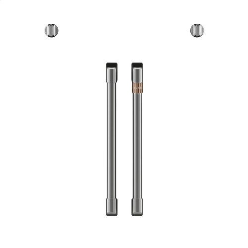 Café 2 French-Door Handles; 2 Knobs - Brushed Stainless