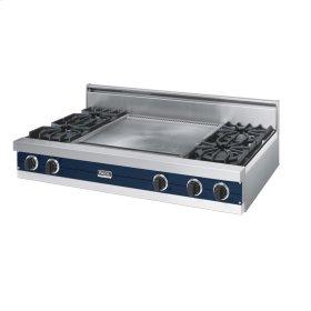 """Viking Blue 48"""" Open Burner Rangetop - VGRT (48"""" wide, four burners 24"""" wide griddle/simmer plate)"""