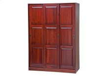 3-Sliding Door Wardrobe, Mahogany