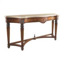 ANTIQUE LIDO FINISHED CONSOLE TABLE, PRIMAVERA VENEERS, M ACTAN STONE TOP