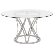 Kyrie Glass Top Dining Table - Chrome / Silver