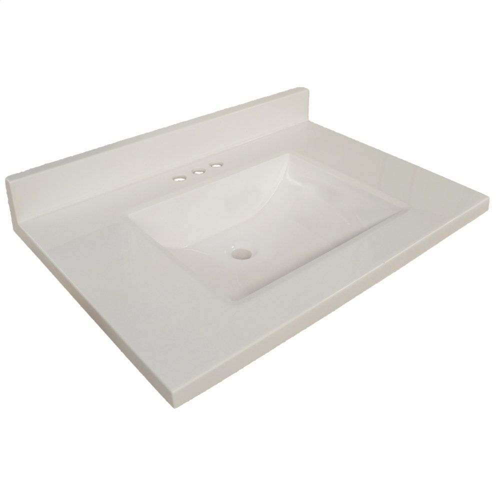 Wave Cultured Marble Vanity Top, 25x22, Solid White #563403