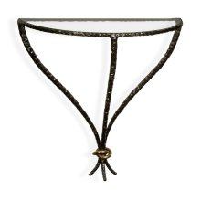 Hammered Antique Black Brass Wall Mounted Bracket Table