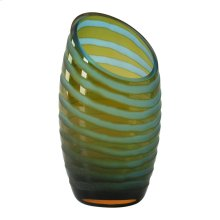 Sm Angle Cut Etched Vase