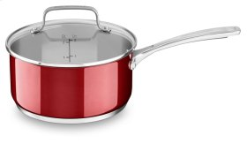 Stainless Steel 3.0 Quart Nonstick Saucepan with lid - Candy Apple Red
