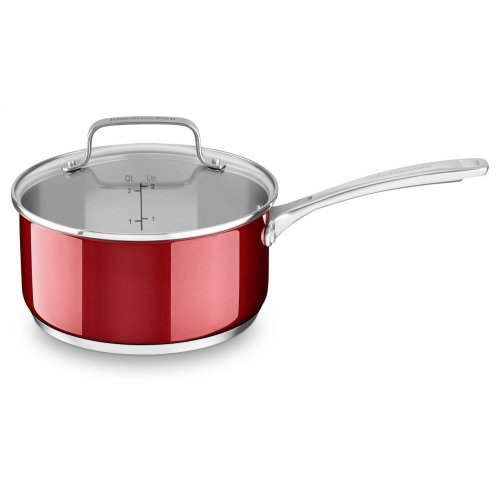 Stainless Steel 3.0 Quart Saucepan with lid - Candy Apple Red