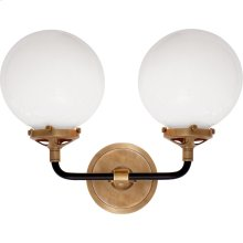Visual Comfort S2026HAB/BLK-WG Ian K. Fowler Bistro 2 Light 14 inch Hand-Rubbed Antique Brass and Black Decorative Wall Light in White Glass