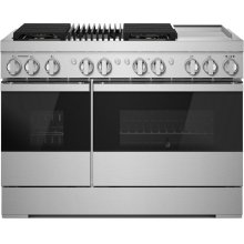 """RISE™ 48"""" Dual-Fuel Professional Range with Chrome-Infused Griddle and Gas Grill, RISE"""