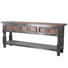 Black/Walnut Bill 3 Drawer Console