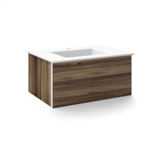 """V14 30-1/4"""" X 14"""" X 21"""" Wall-mount Vanity In Smooth-leaved Elm With Push-to-open Plumbing Drawer, Night Light and 31"""" Stone Vanity Top In Quartz White With Center Mount Sink and Single Faucet Hole Product Image"""