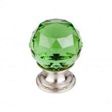 Green Crystal Knob 1 1/8 Inch - Brushed Satin Nickel