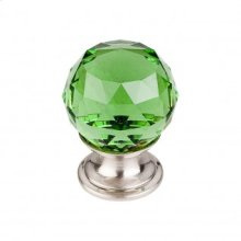 Green Crystal Knob 1 1/8 Inch - Brushed Satin Nickel