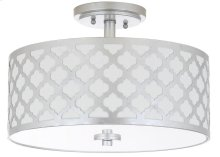 Kora 3 Light 15-inch Dia Silver Flush Mount - Silver Shade Color: Off-White