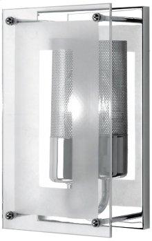 Wall Sconce, Chrome W/clear Glass, 60w/b Type