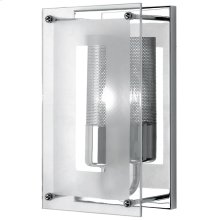 Wall Sconce, Chrome W/clear Glass, 60w/b Type