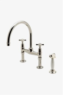 Easton Classic Two Hole Bridge Kitchen Faucet, Metal Cross Handles and White Porcelain Spray STYLE: EAKM31