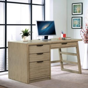 RiversidePerspectives - Single Pedestal Desk - Sun-drenched Acacia Finish