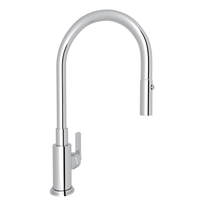 Polished Chrome Lombardia Pull-Down Kitchen Faucet with Country and Classic Metal Lever