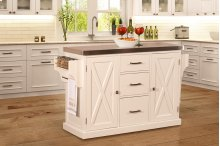 Brigham Kitchen Island In White With Stainless Steel Top