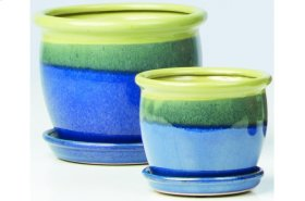 Yellow and Blue Suave Petits Pots with Attached Saucer - Set of 2