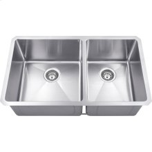 "Stainless Steel (16 Gauge) Fabricated Kitchen Sink with Two Unequal Bowls. 304 SS with Satin Finish. Overall Measurements: 32"" x 19"" x 10-3/8"""
