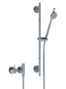One-handle build-in mixer with hand shower and rail - Grey