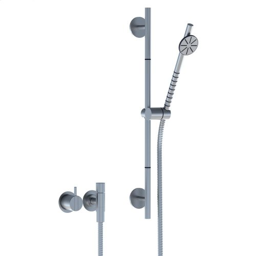 One-handle build-in mixer with hand shower and rail - Natural brass
