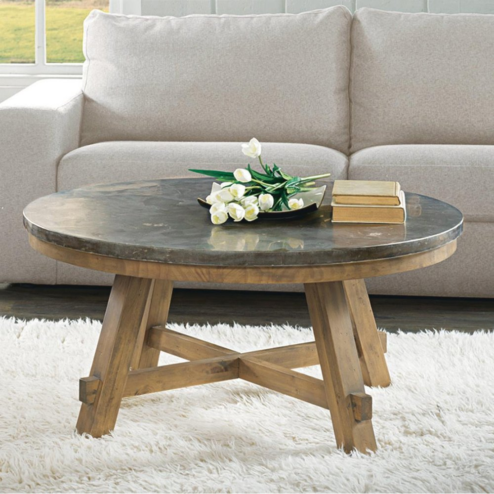 Weatherford - Round Coffee Tabletop - Bluestone Finish