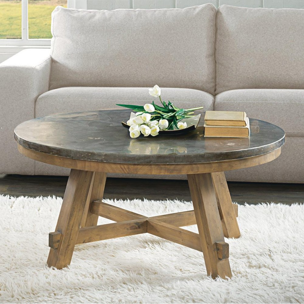 Weatherford   Round Coffee Table Base   Bluestone Finish