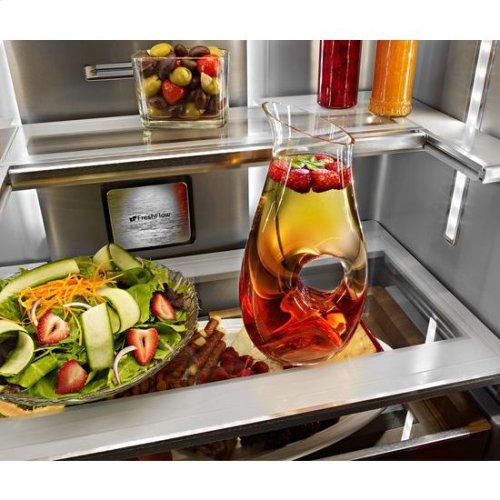 """KitchenAid® 23.8 cu. ft. 36"""" Counter-Depth French Door Platinum Interior Refrigerator with PrintShield™ Finish - PrintShield Stainless"""