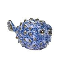"""Blue Ceramic Puffer Fish 8"""""""