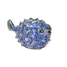 Blue Ceramic Puffer Fish 8""