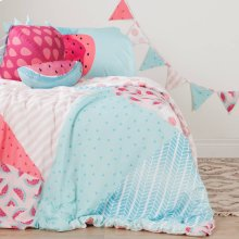 Watermelons and Dots Comforter Set, Throw Pillows and Pennant Banner - Pink and Turquoise