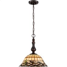 Pendant - Dark Bronze/tiffany Shade, E27 A 100w