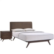 Tracy 2 Piece Queen Upholstered Fabric Wood Bedroom Set in Cappuccino Brown