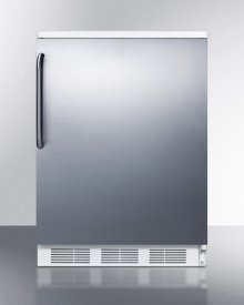 Commercially Listed Freestanding All-refrigerator for General Purpose Use, Auto Defrost W/stainless Steel Wrapped Door, Towel Bar Handle, and White Cabinet