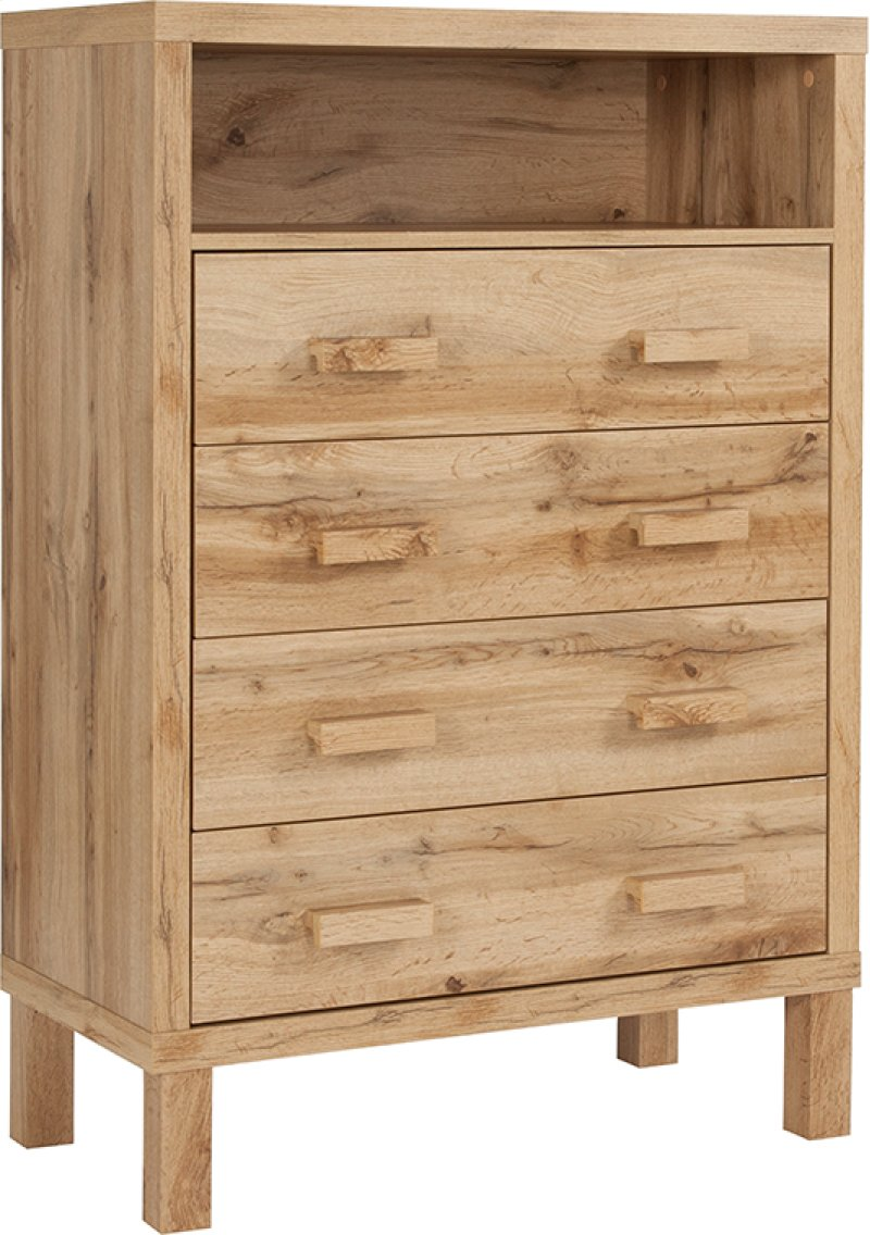 Heritage Collection Chest Of Drawers With Open Storage In Rustic Oak