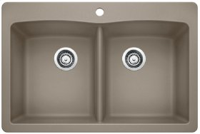 Blanco Diamond Equal Double Bowl With Ledge - Truffle