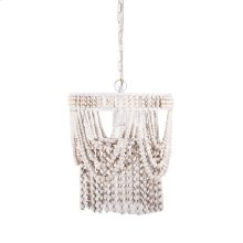 Round Frame Whitewash Beaded Chandelier. 60W Max. Plug-in with Hard Wire Kit Included.